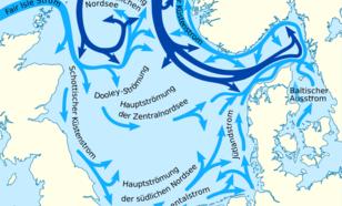 Kaart van zeestromen Noordzee met effectief watertransport naar het noorden. Bron: wikipedia.