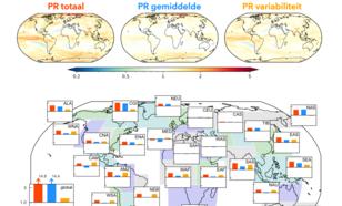 Fig. 3: Probability Ratio voor verandering van het aantal maandelijkse neerslagextremen in een wereld met 2 °C opwarming. Uitsplitsing van totale PR (rood) in PR door verandering in gemiddelde (blauw) en PR door verandering in klimaatvariabiliteit (geel).