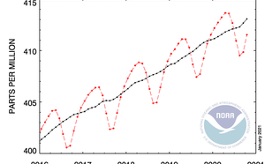 Wereldgemiddelde concentratie CO2 van laatste vijf jaar. Ter vergelijking was deze in oktober 2020 411.53 ppm en in oktober 2019 409.23 ppm.