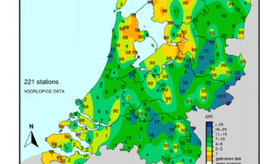 kaart met sneeuwdek in Nederland op 9 februari 2021.