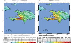 kaart met seismische shakemaps: (a) geschat ongeveer één dag na de aardbeving en (b) bijgewerkt en samengesteld op 27 januari 20