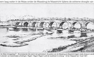 Maasbrug te Maastricht tijdens de extreme droogte van 1921