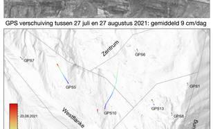Verschuiving van de berghelling Spitzer Stein tussen 27 juli en 27 augustus 2021