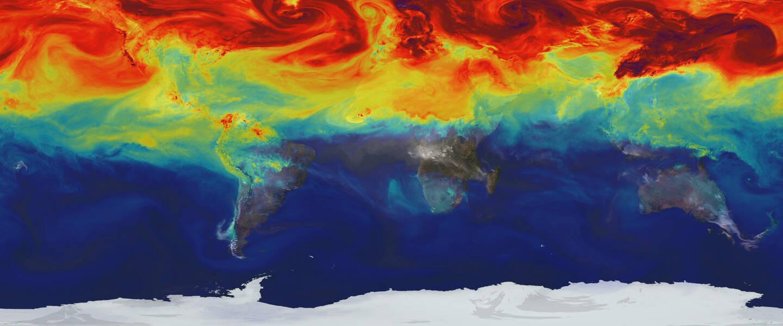 CO2 verdeling in de atmosfeer in april 2006