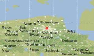kaart met locatie van de eerste beving bij zeerijp in groningen